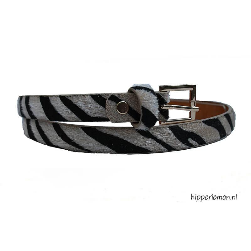 smalle-riem-zebraprint-beige